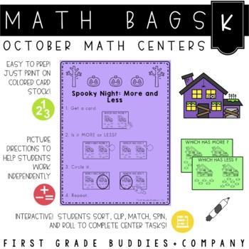 Math Bags for Kindergarten: Halloween Version! (10 Halloween Math Centers)