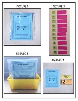 Math Bags for Kindergarten Set 1 (12 Common Core Aligned Math Centers)