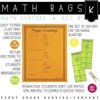 Math Bags for Kindergarten Set 1 (12 Common Core Aligned M