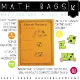 Math Bags for Kindergarten Set 2 (12 Common Core Aligned Math Centers)