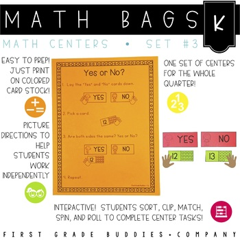 Math Bags for Kindergarten Set 3 (12 Common Core Aligned Math Centers)