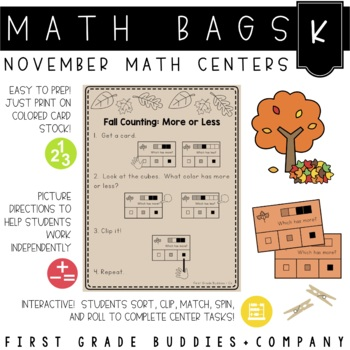 Math Bags for Kindergarten: Thanksgiving Version! (10 Thanksgiving Math Centers)