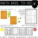 Math Bags for Kindergarten: To-Go {30+ Printable, No Prep