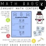 Winter Math Bags for Kindergarten: 10 Math Centers for Winter Activities