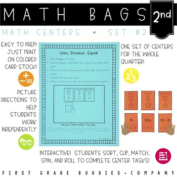 Math Bags for 2nd Grade Set 2 (10 Common Core Aligned Math Centers)