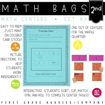 Math Bags for 2nd Grade Set 3 (10 Common Core Aligned Math Centers)