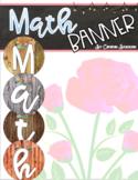 Math Banner Classroom Decoration Bulletin Board Rustic Farmhouse Shabby Chic
