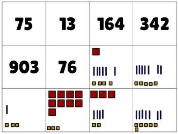 Math - Base Ten Manipulative and Number Matching Cards