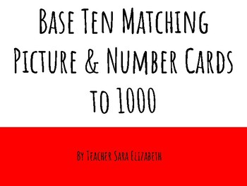 Math - Base Ten Manipulative and Number Matching Cards