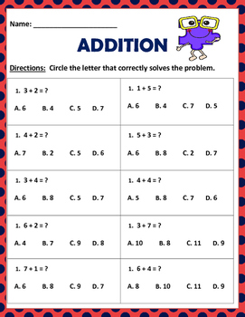 Math: Basic Addition Multiple Choice - 5 page with 10 questions each.