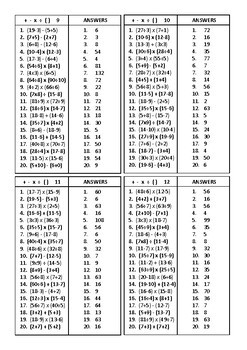 Math Basic Fact Cards – Set 10 – Add / Sub / Mult / Div with brackets