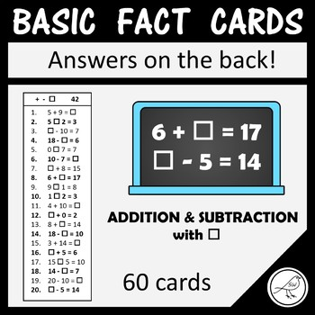 Math Basic Fact Cards – Set 4 – Addition and Subtraction with box
