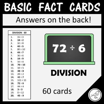 Math Basic Fact Cards – Set 6 – Division