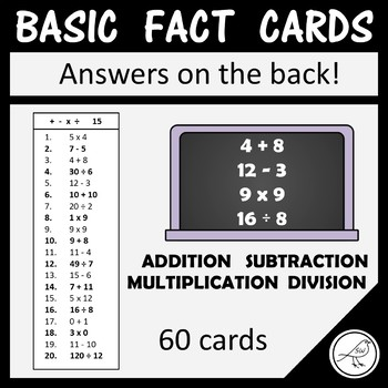 Math Basic Fact Cards – Set 8 – Addition Subtraction Multiplication and Division
