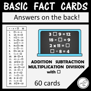 Math Basic Fact Cards –Set 9– Addition Subtraction Multiplication Division & box