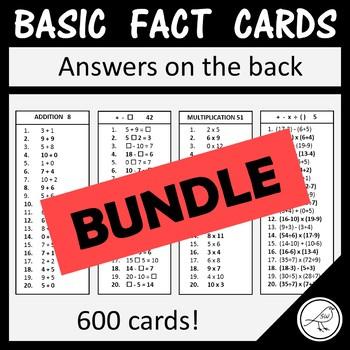 Math Basic Fact Cards – Sets 1 to 10 – BUNDLE