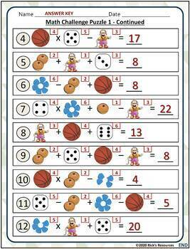 Math Basic Operations Algebraic Thinking Picture Puzzles - 4th Grade