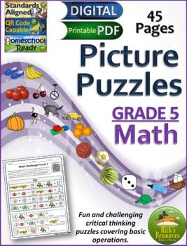 Math Basic Operations Algebraic Thinking Picture Puzzles - 5th Grade