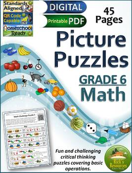 Math Basic Operations Algebraic Thinking Picture Puzzles - 6th Grade
