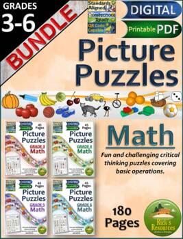 Math Basic Operations Algebraic Thinking Picture Puzzles Bundle Grades 3-6