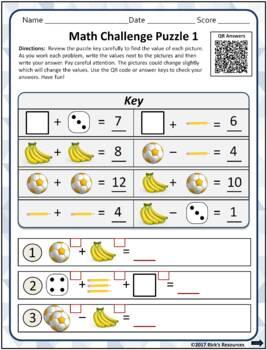 Math Basic Operations Algebraic Thinking Picture Puzzles FREE Grades 3-4