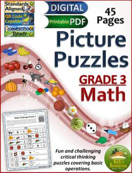 Math Basic Operations Algebraic Thinking Picture Puzzles - 3rd Grade
