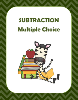 Math: Basic Subtraction Multiple Choice- 4 pages of 10 questions each.