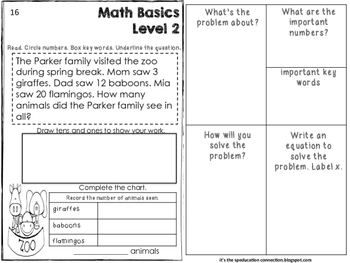 Math Basics Level 2 Word Problems Spring Edition
