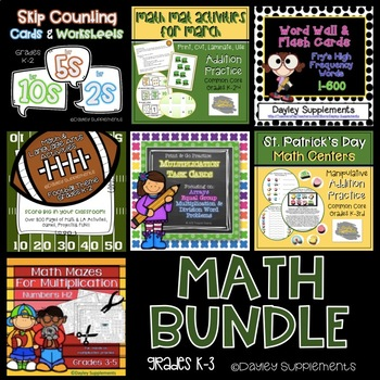 Math Basics for Elementary (task cards, flash cards, worksheets, activities)
