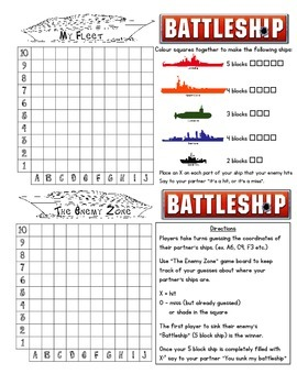 Math Battleship (Co-ordinates)