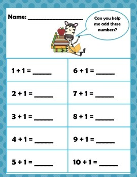 Math: Beginning Addition numbers 1 -10 for Pre-K, Kindergarten, 1 and 2 grades.