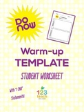 "DO NOW! Warm-up Student Worksheet Template with ""I Can..."" Statements"