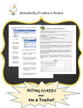 Using Fractions in Recipes Worksheet and Math Project