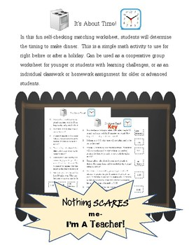 Real Life Math: Time and Meal Planning Matching Worksheet