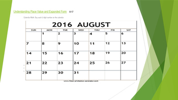 Math Bellwork Problem of the Day 2016 Calendar Video Hooks Links Editable CCS