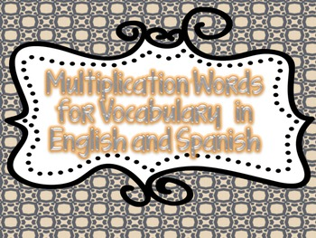 Math Bilingual Multiplication Vocabulary