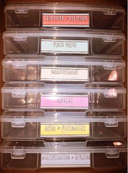 Simple Pastel 4th Grade Math Bin Labels