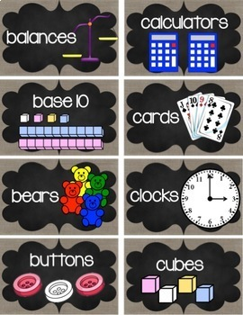 Burlap and Chalk Math Manipulatives Labels