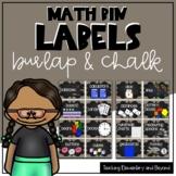 Burlap and Chalk Math Manipulatives Labels