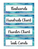 Math Bin Labels - Watercolors