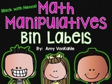 Editable Math Bin Manipulative Labels- Black with Neons!