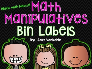 Editable Math Bin Manipulative Labels- Black with Neons!