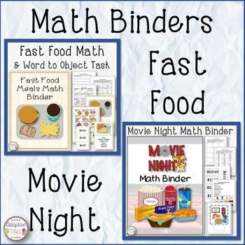 Math Binder Bundle - Fast Food and Movie Night
