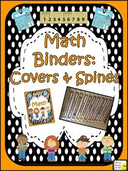 Math Binder Covers & Spines (orange and black & white polka dot)