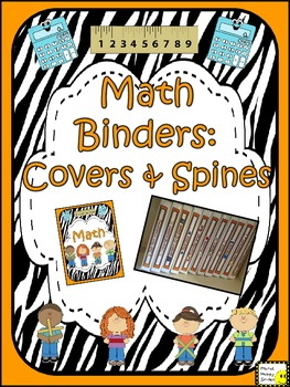 Math Binder Covers & Spines (orange and zebra)