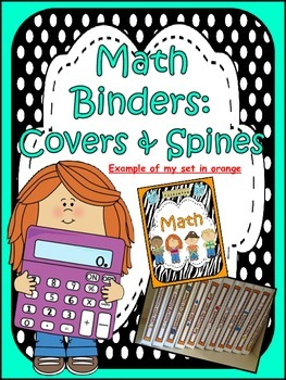 Math Binder Covers & Spines (polka dot and aqua)