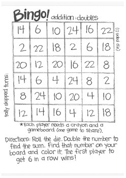 Math Bingo: Adding Doubles and Doubles with Subtraction