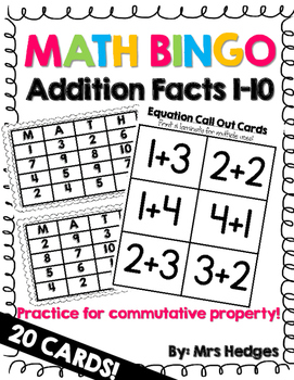 math bingo addition facts 1 10 by mrs hedges teachers pay teachers. Black Bedroom Furniture Sets. Home Design Ideas