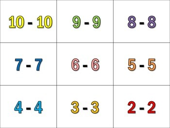 GAME: MATH BINGO, Addition/Subtraction, 0-10, 1st Grade CCS