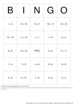 Math Bingo Cards - 100 Unique Pages